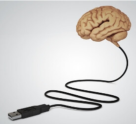 a brain hooked up to a charger